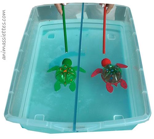 Course de tortues avec des aimants