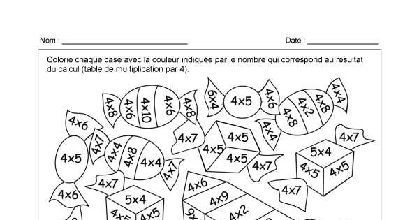 Table de 4 multiplications et coloriage math matiques for Table de multiplication par 4