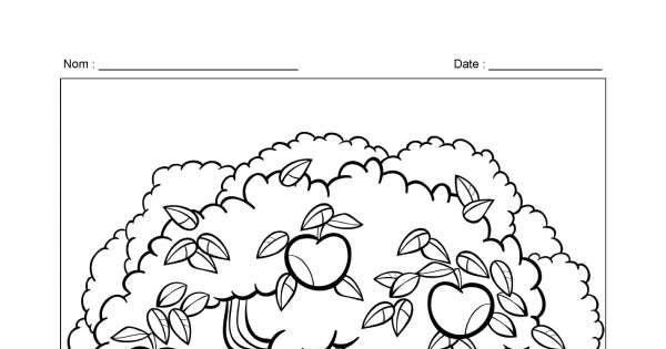 Pommier coloriage animassiettes - Pommier coloriage ...