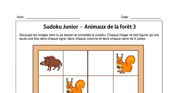 sudoku des animaux de la for t 3 sudoku animassiettes. Black Bedroom Furniture Sets. Home Design Ideas