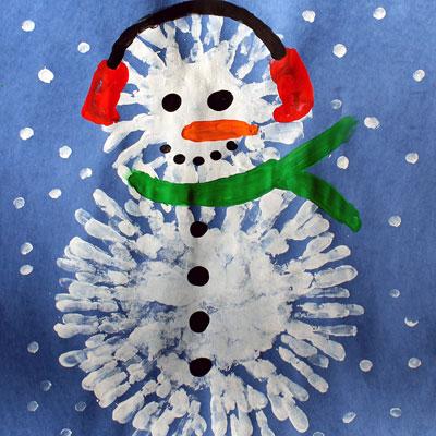 Bonhomme de neige avec peinture au doigt tuto gratuit animassiettes - Bonhomme de neige bricolage ...