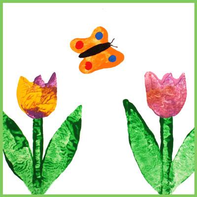Frise avec tulipes et papillons