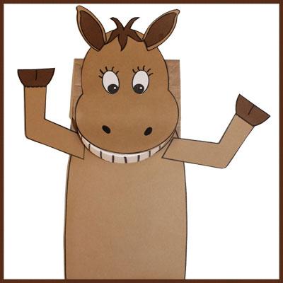Marionnette cheval (sac en papier)
