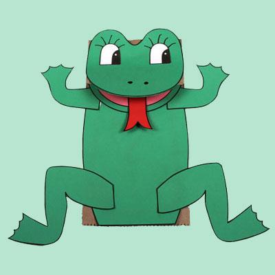 Marionnette grenouille (sac en papier)