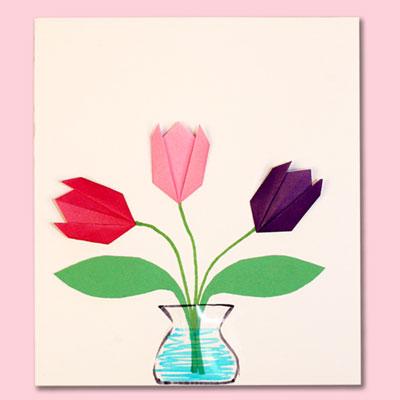 Tulipe simple en origami